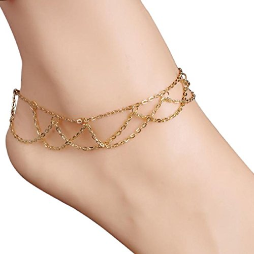 Foot Chain Links (OVERMAL Wavy Fringed Anklets Beach Jewelry Barefoot Sandal Link Mesh Tassel)