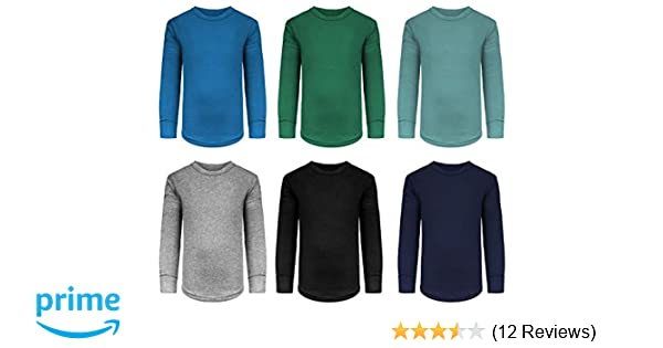 Boys//Toddler 6 Pack Athletic Performance Long Sleeve Undershirt Tops//Base Layer Cotton Stretch Shirts