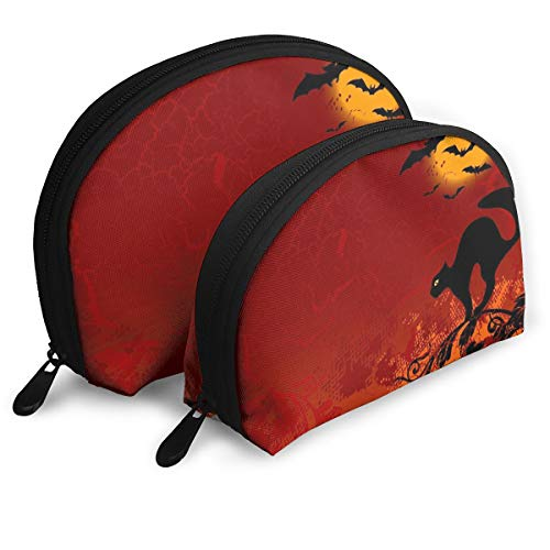 Zimubeikebao456 Halloween Little Black Cat Bat Blood Night Women's Travel Cosmetic Bags Waterproof FabricSmall Makeup Clutch Pouch Cosmetic and Toiletries Organizer Bag Portable Travel Toiletry Pouch -