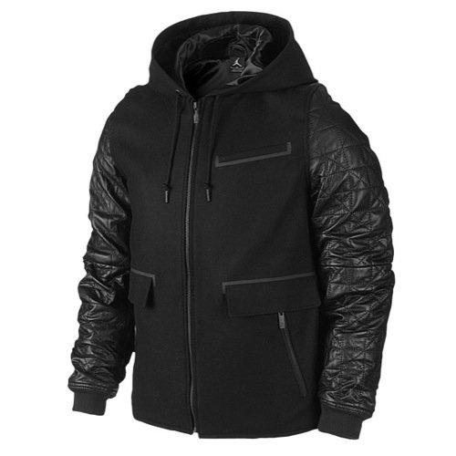 [632071-010] AIR JORDAN AJ LEATHER LETTERMAN JACKET APPAREL APPAREL AIR JORDANBLACK - Nike Leather Jacket