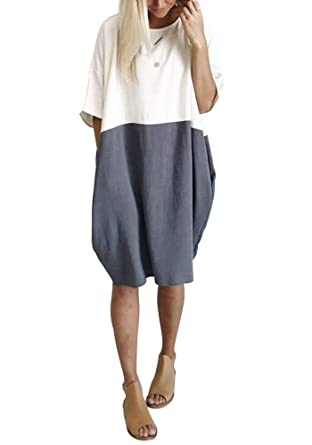 579670e2f834 Yissang Women's Loose Patchwork Half Sleeve Casual Long T Shirt Dress with  Pockets at Amazon Women's Clothing store: