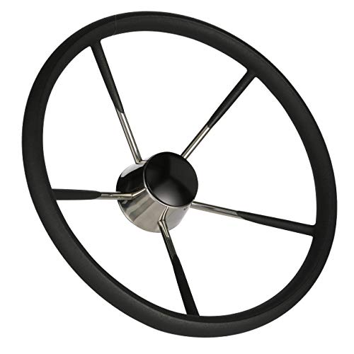 Seachoice 28581 5-Spoke Destroyer Steering Wheel with Permanent Foam Grip - Stainless Steel - Black Center Cap, 15-inch Diameter