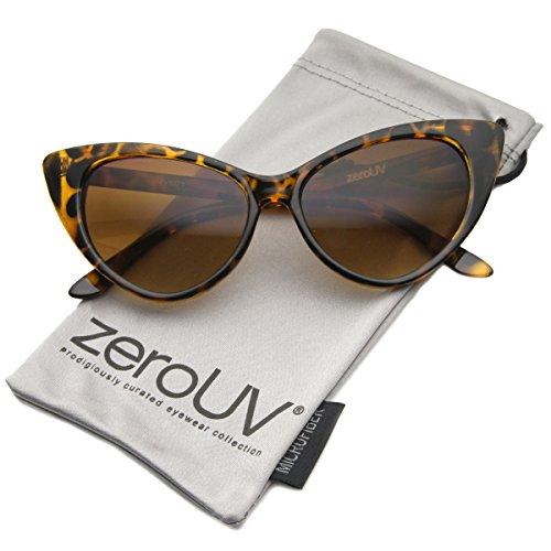 zeroUV - Super Cateyes Vintage Inspired Fashion Mod Chic High Pointed Cat-Eye Sunglasses (Dark - Sunglasses Tortoise Dark