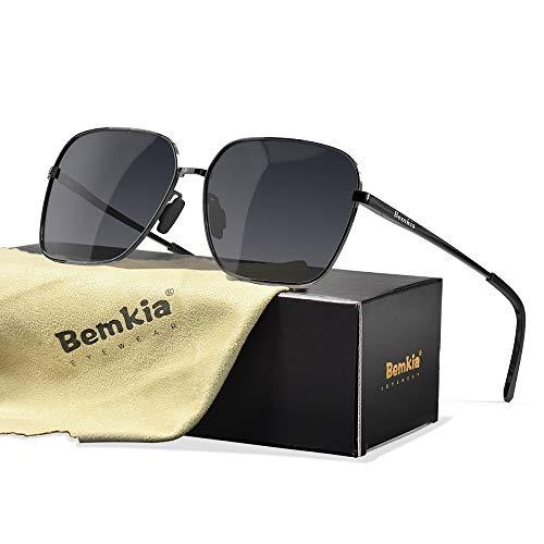 Bemkia Sunglasses Men Women Rectangular Polarized Metal Frame with Spring Hinges UV400 Protection 62MM