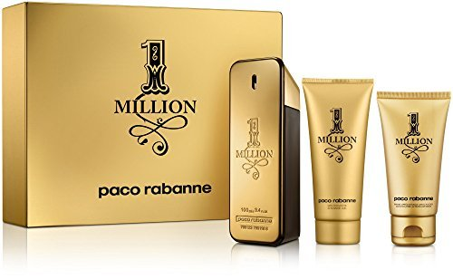 Paco Rabanne 1 Million Gift Set for Men - 3.4 oz Eau de Toilette Spray+3.4 oz Shower Gel+2.5 oz Aftershave Balm