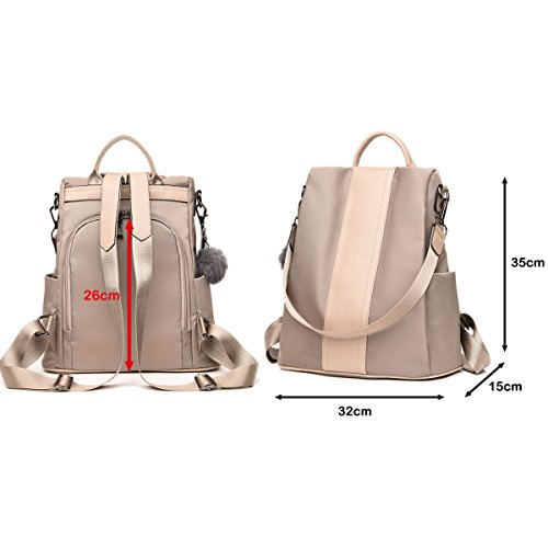 Theft LOSMILE Khaki Daypack Handbag Bags Bags Anti Lightweight Women's Ladies Shoulder Nylon Backpack Rucksack Bag School Tw5nOUH1
