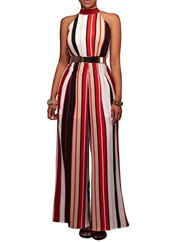 Women's Sexy Sleeveless High Waisted Wide Leg Long Pants Jumpsuit Rompers Red XXL