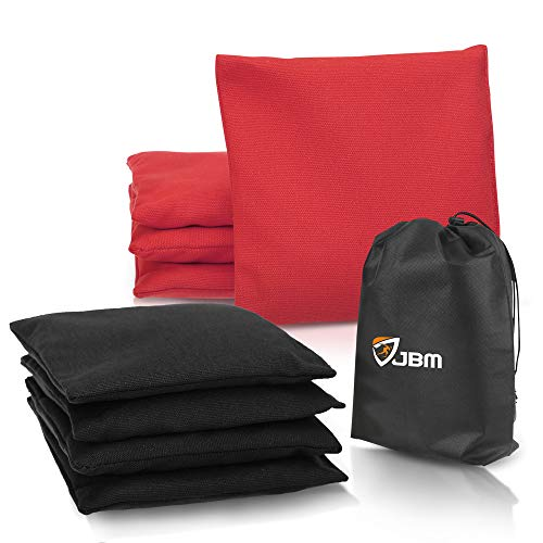 JBM Cornhole Bag (Pack of 8) Weather Resistant Cornhole Bags with Recycled Plastic Pellets for Tossing Corn Hole Game - Free Carrying Bag Included (Red & Black, 14 oz/Pack of 8) (Black Hole Best Player Real Game)