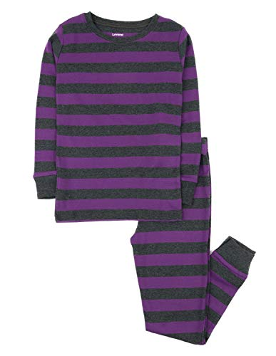 - Leveret Striped 2 Piece Pajama Set 100% Cotton,Purple & Grey,3 Years