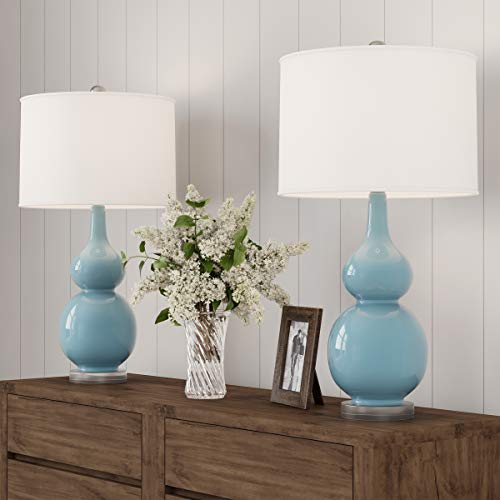 - Lavish Home Table Lamps - Set of 2 Ceramic Double Gourd Vintage Style for Bedroom, Living Room or Office with Energy Efficient LED Bulbs (Blue)