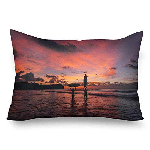 FJPT Throw Pillow Cover Surfing Couple Surfing Family Surfboard Beach Sunsets Decorations for Sofa Bed Cotton Square Stand Size Pillowcase 16x24 Inch