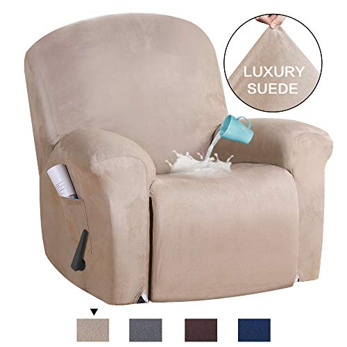 H.VERSAILTEX Stretch Recliner Slipcovers 1-Piece Water Repellent Rich Suede Modern Velvet Plush Sofa Furniture Cover Form Fit Stretch Stylish Recliner Cover/Protector Washable (Recliner, Sand)