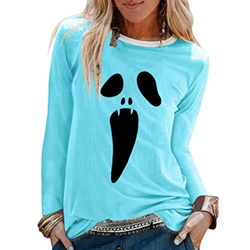 Xinantime Womens Casual Tee Halloween Print Shirts Long Sleeve O-Neck Top Loose T-Shirt Blouse Sky ()