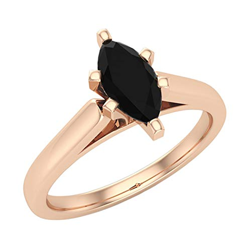 1/2 Carat Total Wt Black Diamond Solitaire Engagement Ring Marquise Cut 14K Solid Rose Gold Comfort Fit (Ring Size 7.5) ()