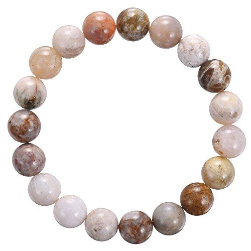 BRCbeads Gemstone Bracelets White Flower Agate Enhance Color Natural Genuine Gemstones Birthstone Handmade Healing Power Crystal Beads Elastic Stretch 10mm 7.5 Inch with Gift Box Unisex