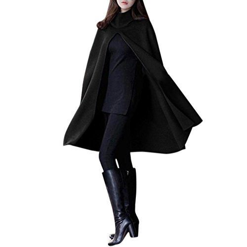 Wintialy Women Hoodie Casual Open Front Cape Trench Duster Coat Longline Blazer (Black, S) Black Satin Trench Coat