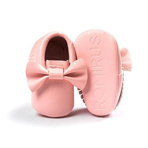 Hunpta Baby-Krippe Quasten Bowknot Schuhe Sneakers Casual rutschfeste Schuhe Lauflernschuhe Krabbelschuhe Babyschuhe Schuhe (13, Silber) Rosa