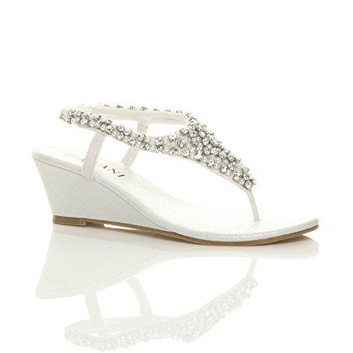Ajvani Damen Mitte Keilabsatz Fersenriemen Perlen Strass Diamant Zehentrenner Sandalen Größe Weiß