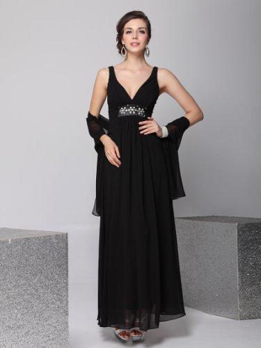 FS0001PBK00, Black, One SizeUS, Ever Pretty Chiffon Bridal Evening Shawls Scarves 0001P
