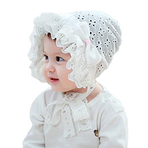 inSowni Baptism Christening Hat Cap Eyelet Bonnet with Bow Flowers White for Newborn Infants Baby Girls Toddlers
