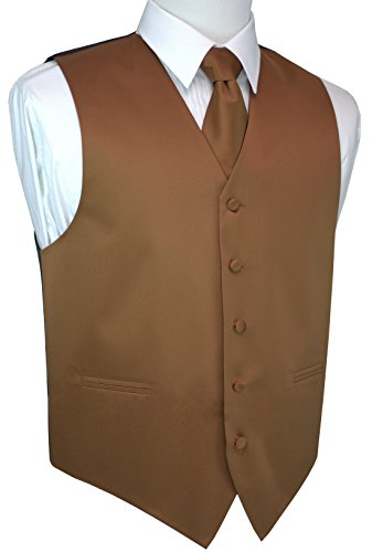 Brand Q Men's Formal, Wedding, Prom, Tuxedo Vest, Tie & Pocket Square Set-Whiskey-XL (Tuxedo Brown)