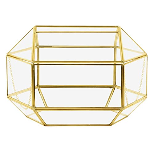 Koyal Wholesale Geometric Glass Wedding Card Gift Box Holder, Reception Drop Box, Modern Lantern Table Décor, Geometric Wedding Decor, Terrarium Planter (Gold, 12 x ()