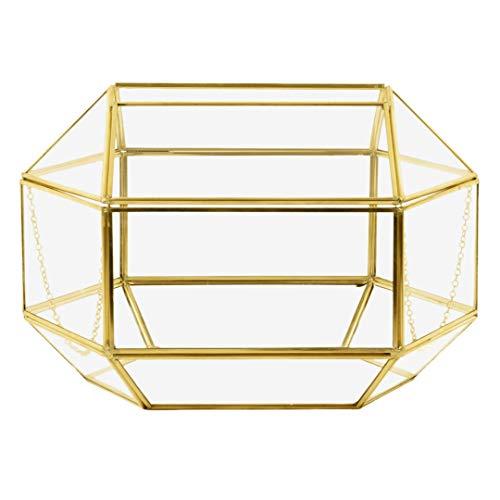 - Koyal Wholesale Geometric Glass Wedding Card Gift Box Holder, Reception Drop Box, Modern Lantern Table Décor, Geometric Wedding Decor, Terrarium Planter (Gold, 12 x 9-Inch)
