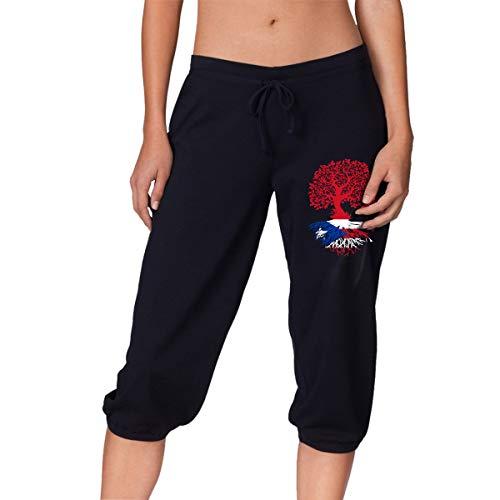 (Puerto Rico Roots Women's Denim Capri Pants Fit Trousers Black)