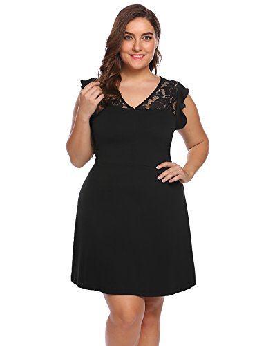 Fashion Women's Plus Size A-Line Sleeveless Pleated Little Lace Cocktail Party Dress, Black, X-Large