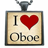 I Love Heart Oboe Glass Tile Pendant Necklace with Black Chain