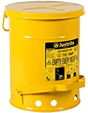 """Justrite 09101 6 Gallon, 11.875"""" OD x 15.875"""" H Galvanized-Steel Yellow Safety Cans for Oily Waste"""