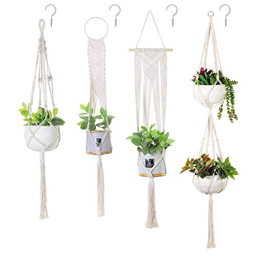 Soonow Macrame Plant Hangers, Hanging Planters for Indoor Plants with Hooks Home Decor, Set of 4 (Set Decor 4 Wall Of)