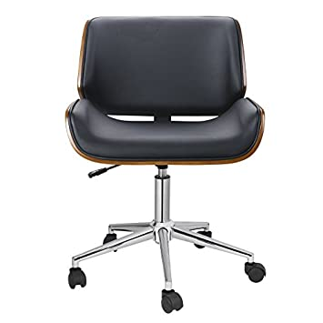 Porthos Home KCH019A BLK Dove Office Chairs in Mid-Century Modern Design with Leather Upholstery, Wooden Accents, Stainless Steel Legs, Roller Wheels Adjustable Height, Black