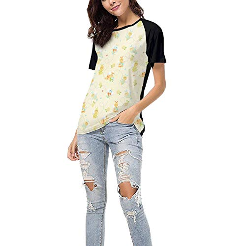 (Women's Summer Short Sleeve - Busy Bees Casual Raglan Tee Baseball Tshirts Tops Blouse XXL)