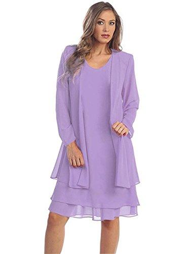- IHOT Women 2 Pcs Set Chiffon Jacket Dress Mother of Bride Dresses Purple