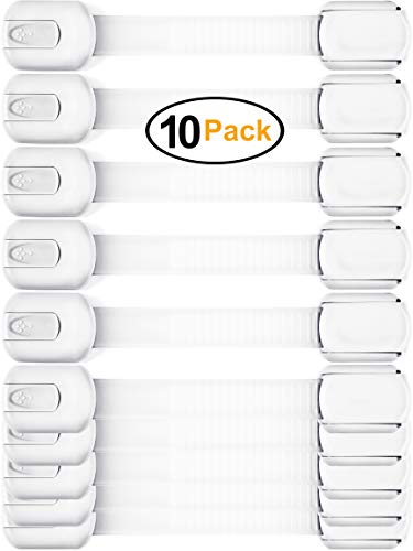 Baby Safety Cabinet Locks - Value Pack (10 Straps) to Baby Proof Cabinets, Drawers, Toilet, Fridge & More - Easy to Use & Easy to Install Child Safety Locks with 3m Adhesive - No Tools Needed (White) (Best Baby Cupboard Locks)