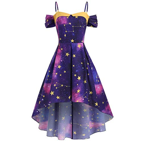Sherostore ♡ Women's Vintage Sleeveless Starry Night Sun Moon Stars Print Dress Irregular Hem A Line Cocktail Party Dress -