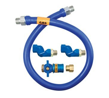 Dormont 16100BPCF2S24 1'' Blue Hose Moveable Gas Connector Hose 24'' Long with Blue Antimicrobial PVC, 2 Swivel MAX & Safety Quik QDV