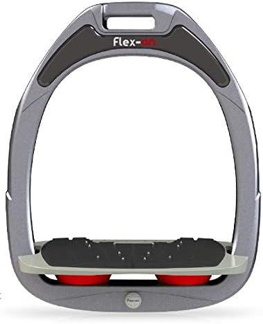 【Amazon.co.jp 限定】フレクソン(Flex-On) 鐙 ガンマセーフオン GAMME SAFE-ON Mixed ultra-grip フレームカラー: シルバー グレー フットベッドカラー: グレー エラストマー: レッド 08450