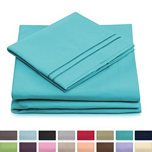 Aqua Striped Pillow (King Size Bed Sheets - Pastel Blue Luxury Sheet Set - Deep Pocket - Super Soft Hotel Bedding - Cool & Wrinkle Free - 1 Fitted, 1 Flat, 2 Pillow Cases - Aqua King Sheets - 4 Piece)