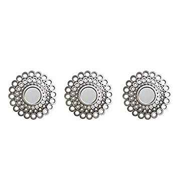 Northlight Set of 3 Round Silver Cascading Angular Orbs Mirrors 9.5