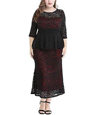 Daci Women's Plus Size Crew Neck Elegant Floral Lace Peplum Maxi Party Dress Gown