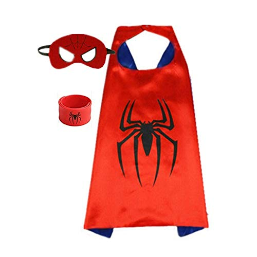 Superhero Capes for Kids, Dress up Costumes-Satin Cape with Felt Mask and Bracelet (Spider-Man)]()