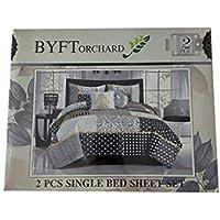 BYFT Comfort Standard Single Bed Size Flat Bedsheet + Pillow Case, Assorted, Multi Color