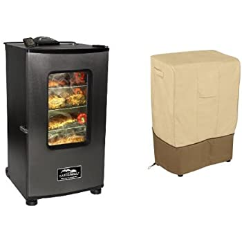 Masterbuilt 20070411 30-Inch Top Controller Electric Smoker with Window and RF Controller with Classic Accessories Cover