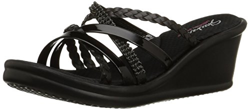Skechers Cali Women's Rumblers Wild Child-Social Butterfly Wedge Sandal,Black Rhinestone,8 M US
