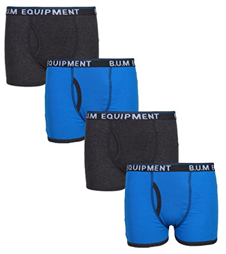 Cotton Mesh Boxer Briefs (B.U.M. Equipment Boys 4 Pack Solid Underwear Boxer Briefs, Solids and Stripes, Charcoal/Blue, Medium / 8-10)