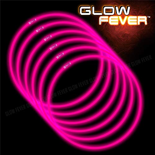 Pink Glow Bracelets (Glow Sticks Bulk 100ct 22'' Glow Necklaces with Connectors, for Party Festivals Raves Birthday Wedding,)