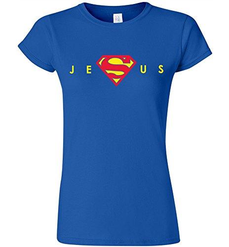 DirtyRagz Womens Ladies Juniors Super Jesus Christ T Shirt M Blue -