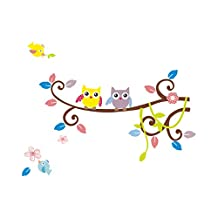 Singing Birds with Squirrel Climbing the Tree Wall Decor for Nursery Children Room Playground